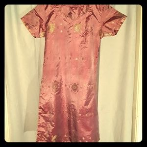 Pink Kurti with Gold Metallic Design